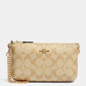 Coach Large Wristlet in Signature Canvas w/ Chain